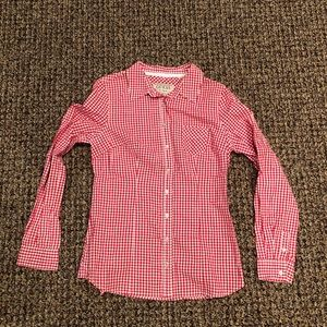 GUESS red and white plaid top